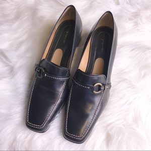 NWOT Easy Spirit Black Leather heeled loafers